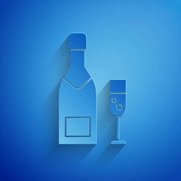Paper cut Champagne bottle and glass of champagne icon isolated on blue background. Merry Christmas and Happy New Year. Paper art style. Vector Illustration Paper cut Champagne bottle and glass of champagne icon isolated on blue background. Merry Christmas and Happy New Year. Paper art style. Vector Illustration champaign illinois stock illustrations