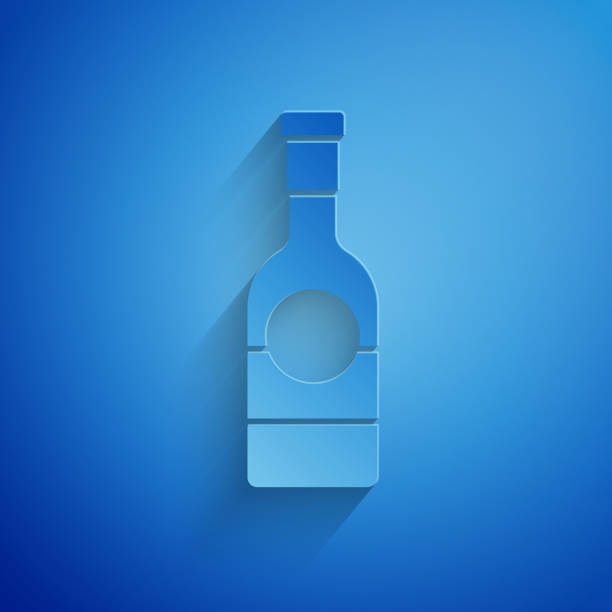 Paper cut Champagne bottle icon isolated on blue background. Paper art style. Vector Illustration Paper cut Champagne bottle icon isolated on blue background. Paper art style. Vector Illustration champaign illinois stock illustrations