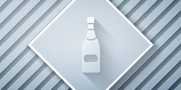 Paper cut Champagne bottle icon isolated on grey background. Paper art style. Vector Illustration Paper cut Champagne bottle icon isolated on grey background. Paper art style. Vector Illustration anniversary clipart stock illustrations