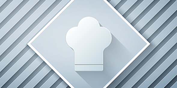 Paper cut Chef hat icon isolated on grey background. Cooking symbol. Cooks hat. Paper art style. Vector Illustration