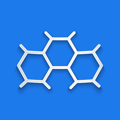 Paper cut Chemical formula icon isolated on blue background. Abstract hexagon for innovation medicine, health, research and science. Paper art style. Vector