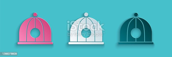 istock Paper cut Chinese hat icon isolated on blue background. Paper art style. Vector Illustration 1266078609