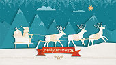 paper cut christmas illustration of santa claus with reindeer sleigh