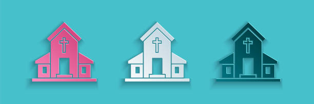 Paper cut Church building icon isolated on blue background. Christian Church. Religion of church. Paper art style. Vector Illustration Paper cut Church building icon isolated on blue background. Christian Church. Religion of church. Paper art style. Vector Illustration architecture clipart stock illustrations