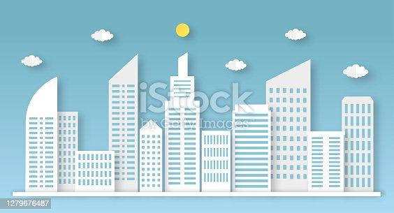 paper cut city in landscape paper art style. vector Illustration.