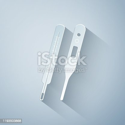 Termometern ikonen, platt designerstil, vektor illustration