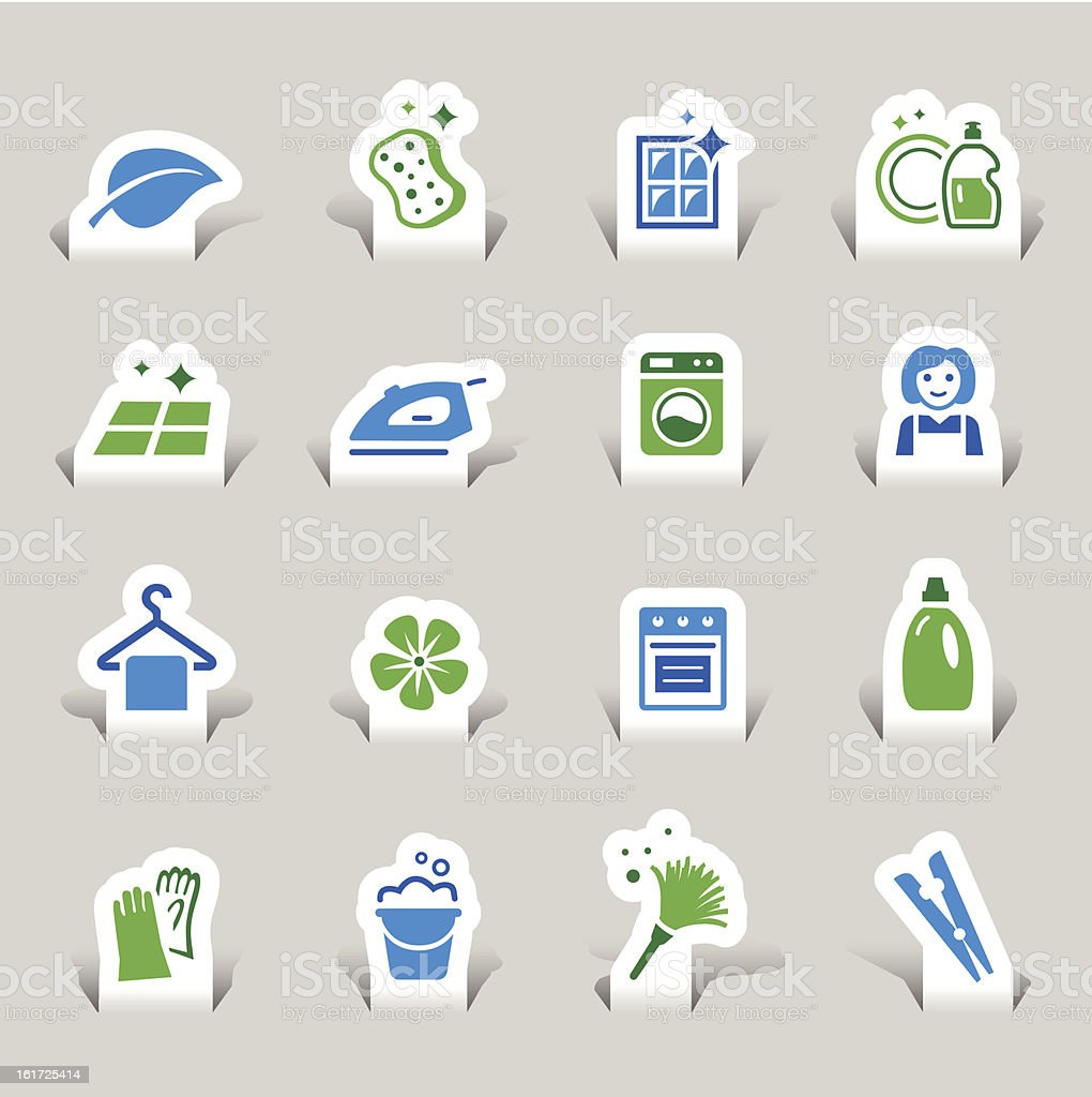 Paper Cut - Cleaning and Household icons / Navigation template royalty-free stock vector art