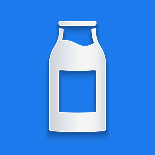 Paper cut Closed glass bottle with milk icon isolated on blue background. Paper art style. Vector Illustration Paper cut Closed glass bottle with milk icon isolated on blue background. Paper art style. Vector Illustration volume fluid capacity stock illustrations