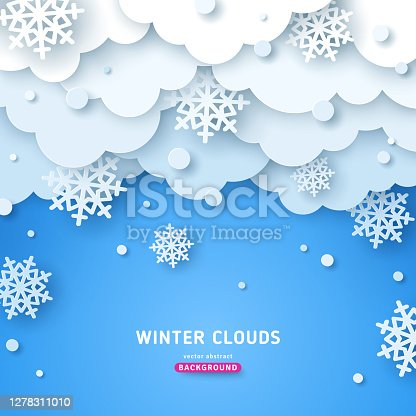 istock Paper cut clouds with snow 1278311010
