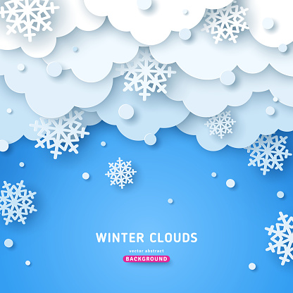 Paper cut clouds with snow