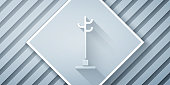 Paper cut Coat stand icon isolated on grey background. Paper art style. Vector Illustration