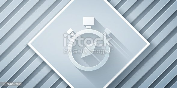 Paper cut Compass icon isolated on grey background. Windrose navigation symbol. Wind rose sign. Paper art style. Vector Illustration
