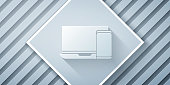 Paper cut Computer monitor and mobile phone icon isolated on grey background. Earnings in the Internet, marketing. Paper art style. Vector Illustration