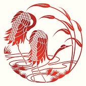 Vector illustration of Chinese style paper cut of crane. Whole graphic is merged in single object. Change color is easy, simply select the paper cut crane and change the gradient's color.
