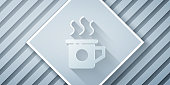 Paper cut Cup of tea icon isolated on grey background. Sweet natural food. Paper art style. Vector Illustration
