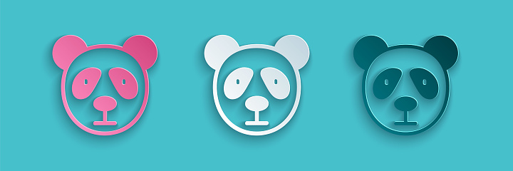 Paper cut Cute panda face icon isolated on blue background. Animal symbol. Paper art style. Vector