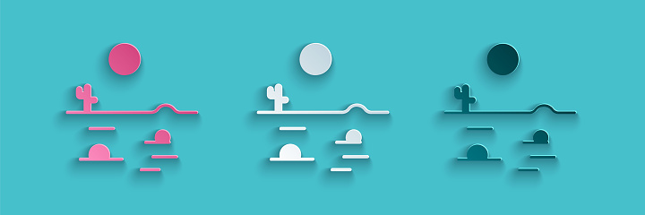Paper cut Desert landscape with cactus icon isolated on blue background. Paper art style. Vector Illustration