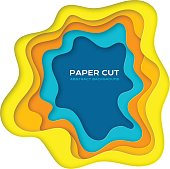 Paper cut design concept for flyers, presentations and posters. Carving art in yellow and blue colors. 3D abstract layered background.