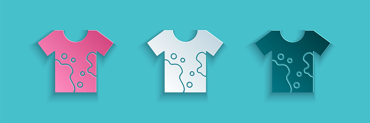 Paper cut Dirty t-shirt icon isolated on blue background. Paper art style. Vector