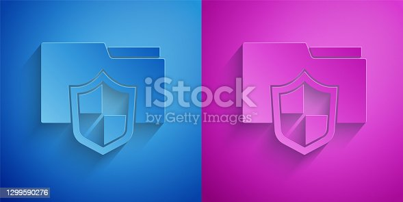 istock Paper cut Document folder protection concept icon isolated on blue and purple background. Confidential information and privacy idea, guard, shield. Paper art style. Vector 1299590276