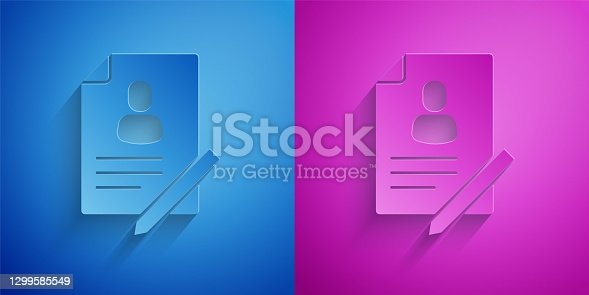 istock Paper cut Document with shield icon isolated on blue and purple background. Insurance concept. Security, safety, protection, protect concept. Paper art style. Vector 1299585549