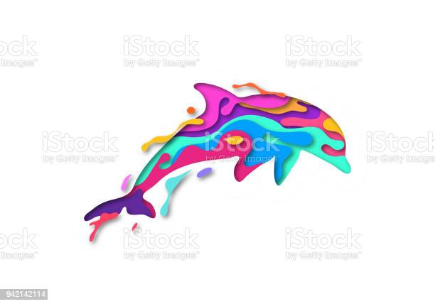 Paper Cut Dolphin Shape 3d Origami Trendy Concept Fashion Design Vector Illustration Stock Illustration - Download Image Now