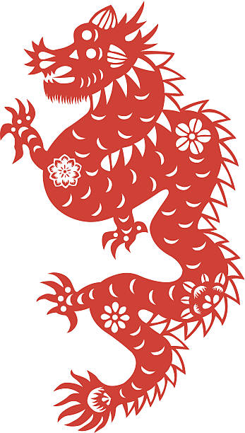 Paper cut dragon Traditional paper cut of a dragon.(fifth of Chinese Zodiac).  animal attribute stock illustrations