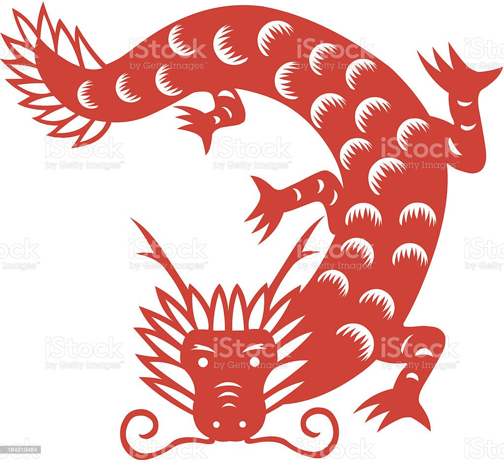 Paper cut dragon royalty-free paper cut dragon stock vector art & more images of animal