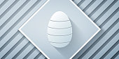 Paper cut Easter egg icon isolated on grey background. Happy Easter. Paper art style. Vector Illustration