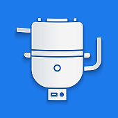 Paper cut Electric boiler for heating water icon isolated on blue background. Paper art style. Vector Illustration