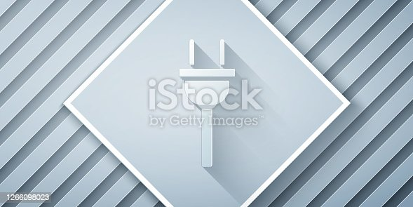 istock Paper cut Electric plug icon isolated on grey background. Concept of connection and disconnection of the electricity. Paper art style. Vector Illustration 1266098023