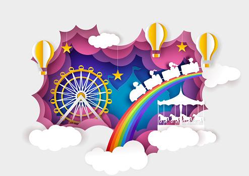 Paper cut ferris wheel, carousel, kids train, hot air balloons. Vector illustration in paper art style.