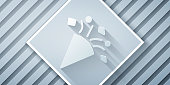 Paper cut Festive confetti icon isolated on grey background. Paper art style. Vector Illustration