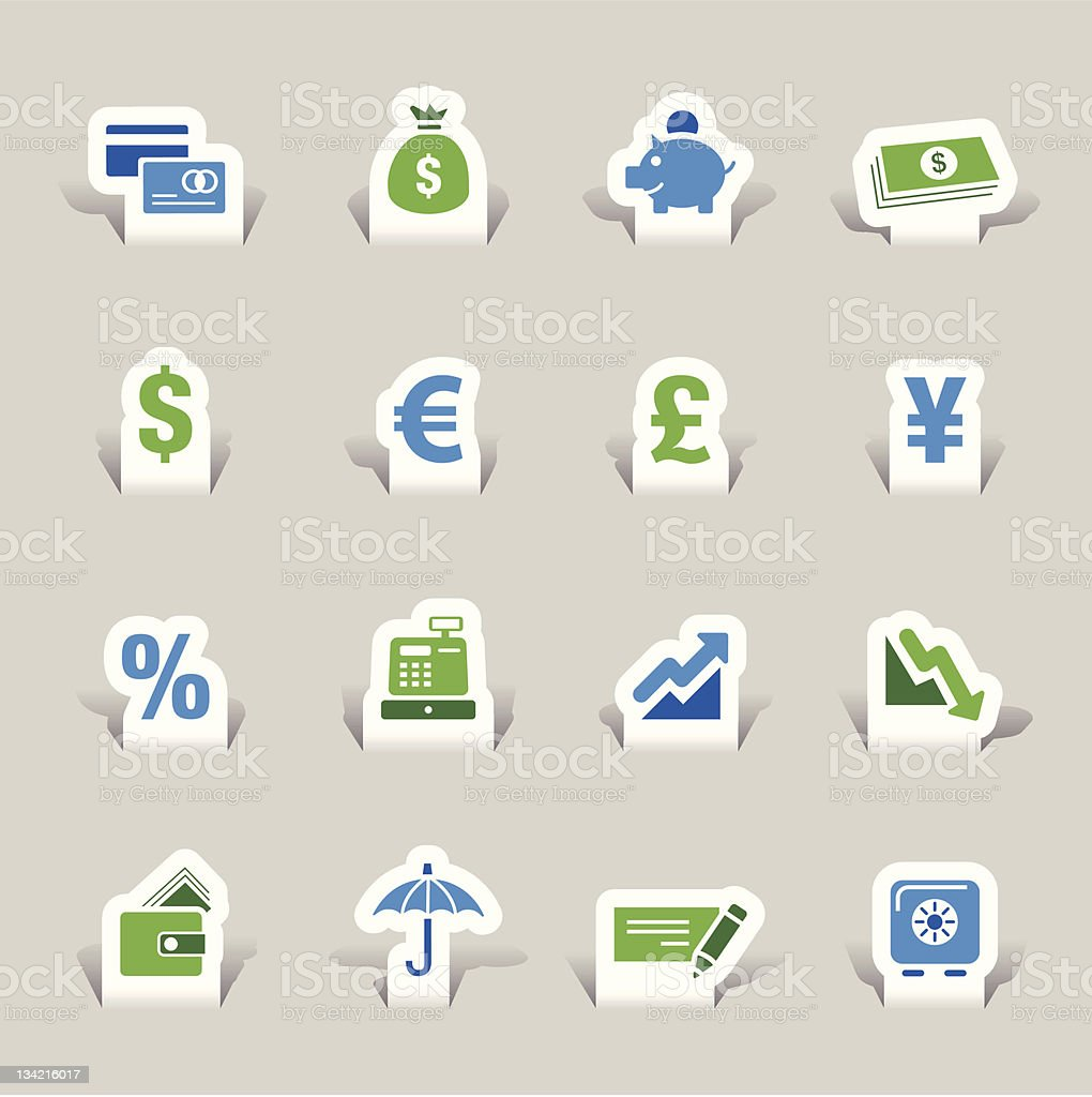 Paper Cut - Finance icons vector art illustration