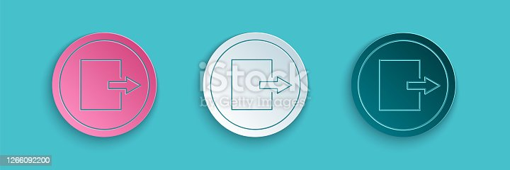 Paper cut Fire exit icon isolated on blue background. Fire emergency icon. Paper art style. Vector Illustration