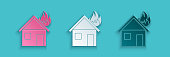 Paper cut Fire in burning house icon isolated on blue background. Paper art style. Vector Illustration