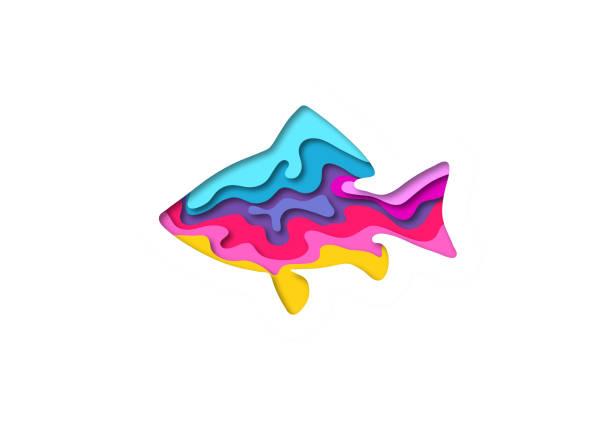 切って魚形状 3 d 折り紙。トレンディなコンセプト ・ ファッション ・ デザイン。ベクトル図 - 水族館点のイラスト素材/クリップアート素材/マンガ素材/アイコン素材