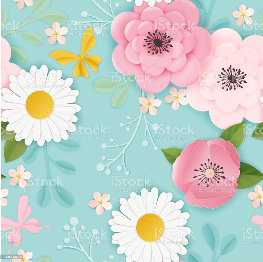 Paper Cut Flowers Seamless Pattern Spring Floral Origami