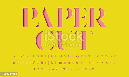 Color paper cut alphabet design