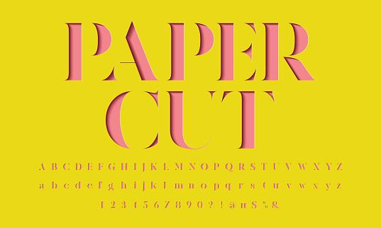 paper cut font clipart