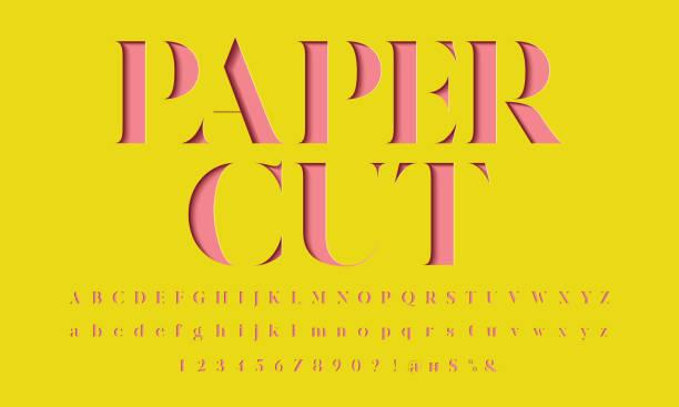paper cut font Color paper cut alphabet design fashion stock illustrations