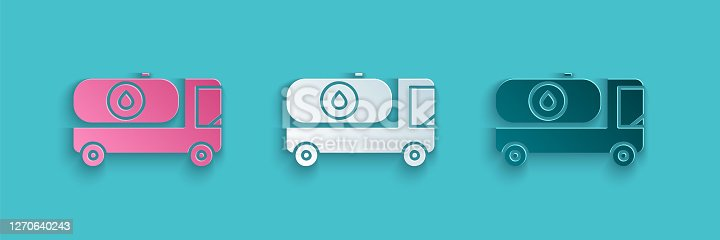 istock Paper cut Fuel tanker truck icon isolated on blue background. Gasoline tanker. Paper art style. Vector Illustration 1270640243