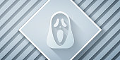 istock Paper cut Funny and scary ghost mask for Halloween icon isolated on grey background. Happy Halloween party. Paper art style. Vector 1271984153