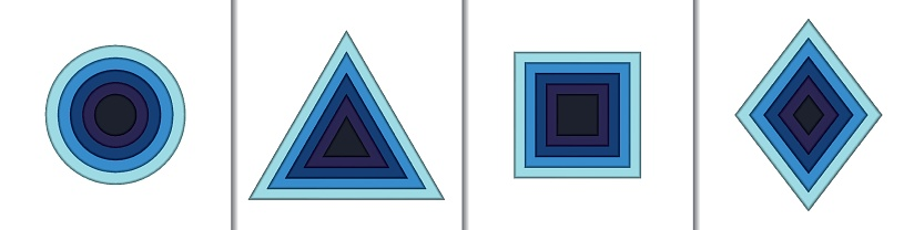 Paper cut geometric shapes set
