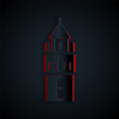 Paper cut Giralda in Seville Spain icon isolated on black background. Paper art style. Vector