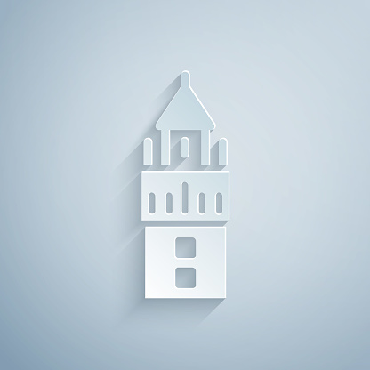 Paper cut Giralda in Seville Spain icon isolated on grey background. Paper art style. Vector