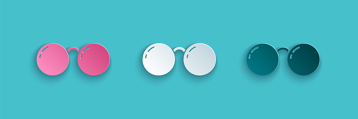 Paper cut Glasses icon isolated on blue background. Eyeglass frame symbol. Paper art style. Vector Illustration