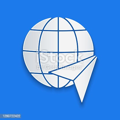 istock Paper cut Globe with flying plane icon isolated on blue background. Airplane fly around the planet earth. Aircraft world icon. Paper art style. Vector Illustration 1250722422
