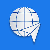 Paper cut Globe with flying plane icon isolated on blue background. Airplane fly around the planet earth. Aircraft world icon. Paper art style. Vector Illustration