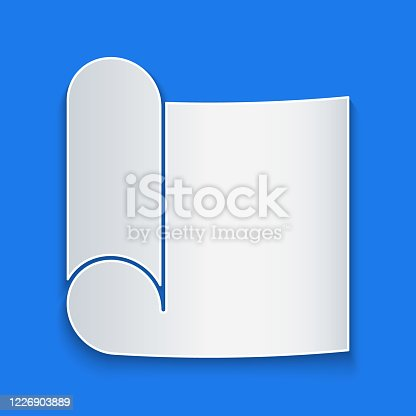 Paper cut Graphing paper for engineering icon isolated on blue background. Paper art style. Vector Illustration